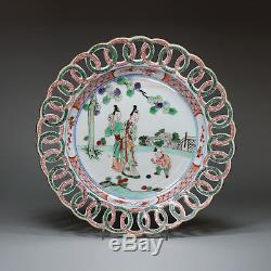 Antique Chinese porcelain famille verte plate, Kangxi (1662-1722)
