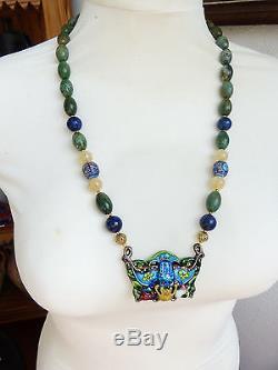 Antique Chinese silver enamel pendant-Chinese Mandarin Court beads-stone neckl