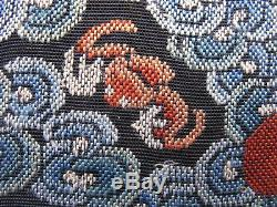 Antique Chinese textile hand embroidery rank badge silver pheasant 5th Rank