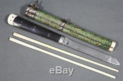Antique Chinese trousse eating set with knife and chopsticks China, 19th