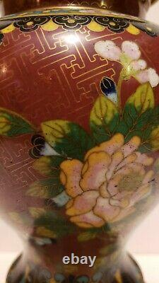 Antique Early Republic period Chinese Tall leaded Cloisonne ginger jar drilled