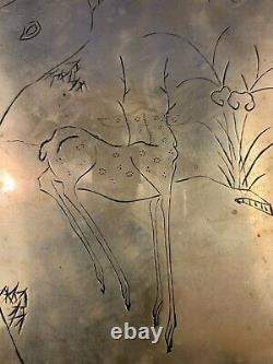 Antique Engraved Chinese Opium Lamp Tray in Brass
