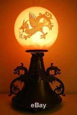 Antique Gwtw Victorian Oil Kerosene Chinese Gilt Dragon Japanese Asian B&h Lamp
