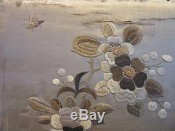 Antique Handmade large Framed Chinese Silk Tapestry Moths Birds Leaves & Flowers