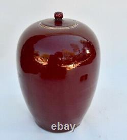 Antique Large Chinese Sang de Boeuf Porcelain Melon Jar