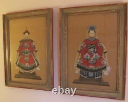Antique Pair Chinese Ancestor Portraits Hand Painted on Silk