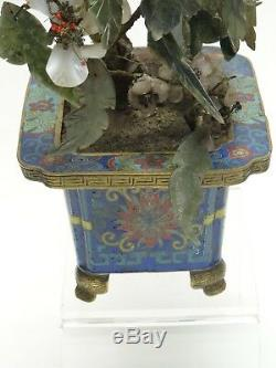 Antique Qing Chinese Cloisonne Planter With Jade Flower Tree