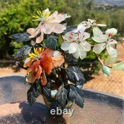Antique Qing Chinese Jade & Wood Tree With Cloisonne Planter Beautiful