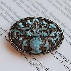 Antique Qing Dynasty Republic Chinese filigree enamel handmade silver brooch