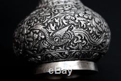 Antique Straits Chinese Silver Vase Perakanan Nyonya