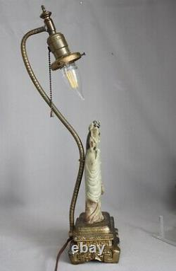 Antique Vintage Chinese Carved Soap Stone Statue Figure Figural Table Lamp Asian