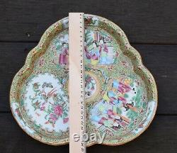 Antique flower shaped Chinese Export Famille Rose Canton Medallion dish