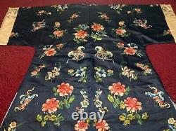 BEAUTIFUL ANTIQUE 19th c QI'ING CHINESE EMBROIDERED SILK WOMEN ROBE EMBROIDERY