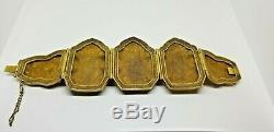 BIG Vintage Chinese Gold Plated Silver Cloisonné Jade Nephrite Enamel Bracelet