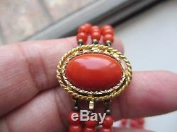 BREATHTAKING VTG CHINESE 3 STRAND SALMON CORAL BEAD NECKLACE WithHUGE 14K CLASP-NR