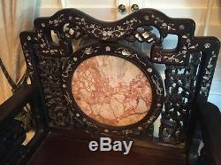 Beautiful 18-19th C Qing Dyn. Chinese Rosewood Mother of Pearl Inlay Arm Chair