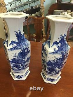 Beautiful Pair Of Antique 19C Chinese Blue And White Porcelain Vases