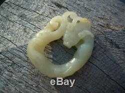 Beautiful finely carved 18th 19thC Chinese white jade dragon pendant ex museum