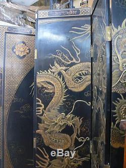 CF 103 Antique Huge Chinese Lacquer Dragon Room Divider Folding Screen