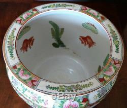 CHINESE Large Old Famelia Rose & Gold Porcelain Fish, Planter, Jardiniere 1800's