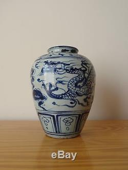 C. 16th- Antique Chinese Ming Blue And White Porcelain Dragon Pot Vase Tian