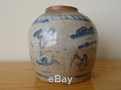 C. 17th Antique Vintage Chinese Stoneware Blue & White Ming Ginger Jar Pot