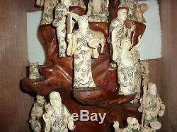 Chinese 104 CM Wooden Display & 21 Carved Bovine Bone Immortal Figures & Animals