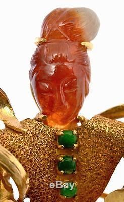 Chinese 14K Gold Orange Red & Green Jade Jadeite Lady Goddess Pin Brooch Mk