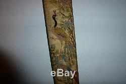 Chinese Antique 19thC Textile Embroidered Fan Case Pink Tourmaline Bead Peacock