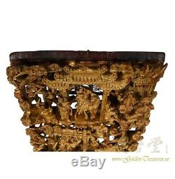 Chinese Antique 3D Gold Gilt War-field Wood Carving panel