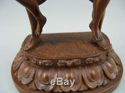 Chinese Antique Boxwood Hand Carving Big Buddha Statue Figure Home Decoration