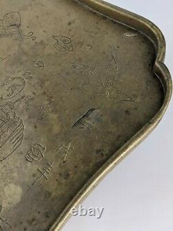 Chinese Antique Brass Opium Tray Figural design & Calligraphy Signed Qing A/F