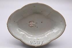 Chinese Antique Qing Dynasty Famille Rose Porcelain Stem Plate of Poem
