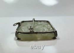 Chinese Antique Silver Jade Pendant Brooch Pin Hand Carved Phoenix Flower Motif