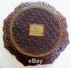 Chinese Antiques Oriental Lacquer Cinnabar Plate 8''- Qianlong Mark