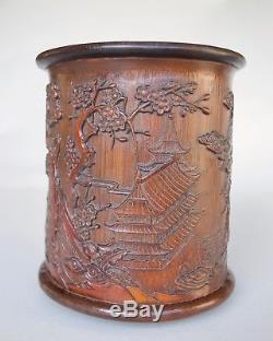 Chinese Bamboo Landscape Brushpot (bitong), Qing dynasty (Ex. Bonhams)