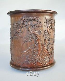 Chinese Bamboo Landscape Brushpot (bitong), Qing dynasty (PROVENANCE BONHAMS)