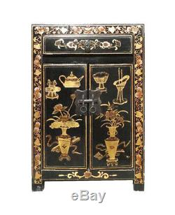 Chinese Black Base Golden Graphic End Table Nightstand cs1078