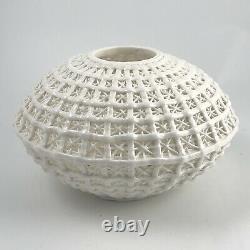 Chinese Blanc De Chine Lantern Dry Vase Reticulated Porcelain Basket Design