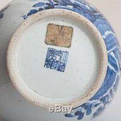 Chinese Blue and White Vase Decorated with Peacock Birds & Peonies Qianlong Mark