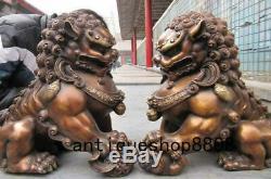 Chinese Bronze Copper Fengshui Evil Guardian Door Beast Fu Foo Dog Lion Pair