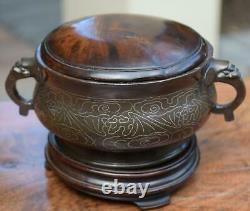 Chinese Bronze Silver inlaid Censer Incense Burner Shi Shou Mark Qing 18/19C