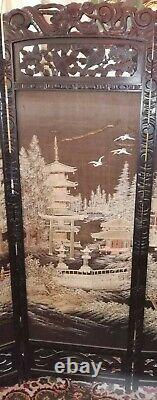 Chinese Carved, Black lacquered Rosewood Screen, Embroidered c1880