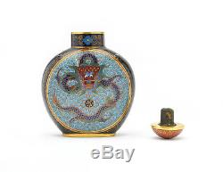 Chinese Cloisonné Snuff Bottle, Five-Clawed Dragons Flaming Pearl 19th Century