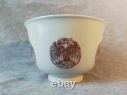 Chinese Copper Red Dragon and Phoenix medallion Bowl