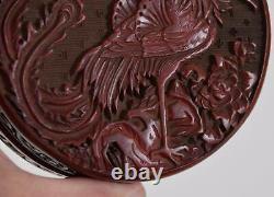 Chinese Dark Red Cinnabar Lacquer Circular Box Phoenix Ming or Qing Dynasty