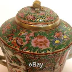 Chinese Export Famille Rose Medallion Porcelain Teapot 19th Century Twisted