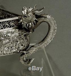 Chinese Export Silver Bowl DRAGON JARDINERE WAS $4500 NO RESERVE