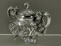 Chinese Export Silver Bowl c1890 WS DRAGON HANDLES