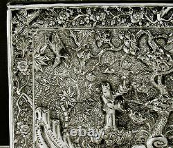 Chinese Export Silver Box Signed SIAM PURE SILVER
